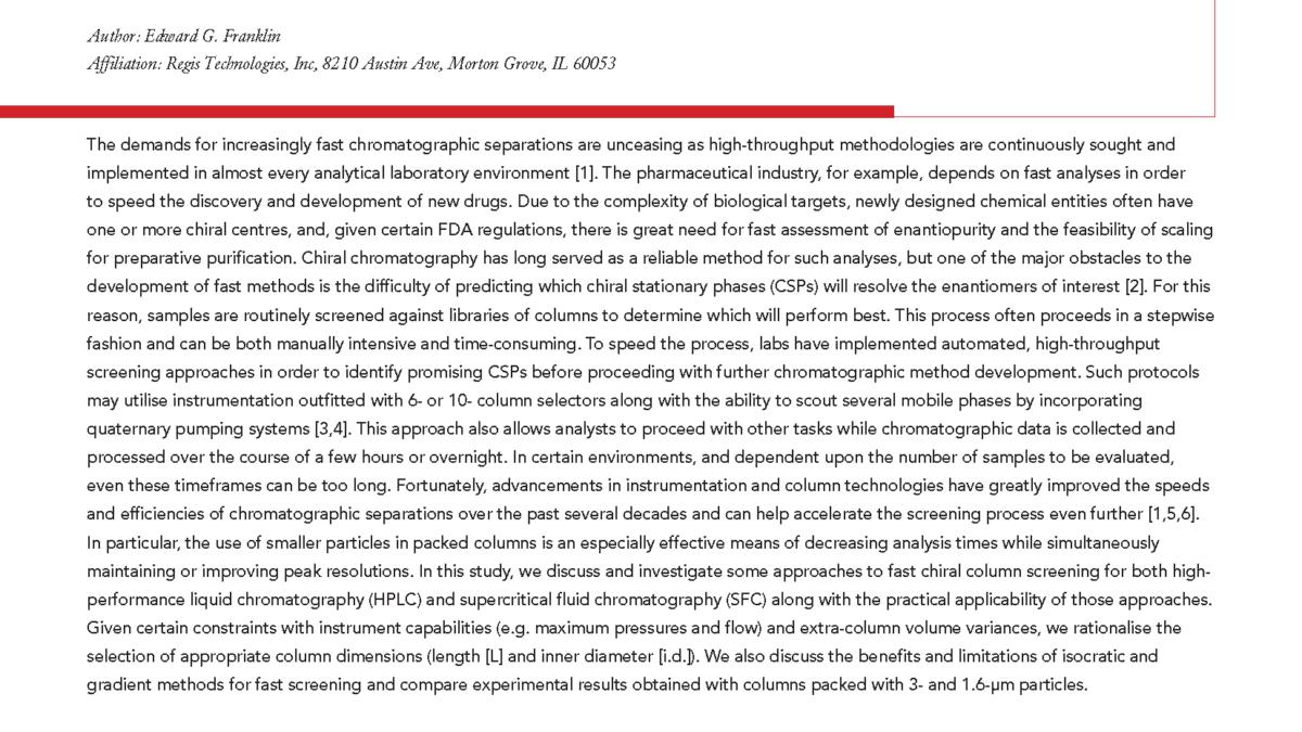 Regis High Throughput Chiral Screening Article_Chromatography Today