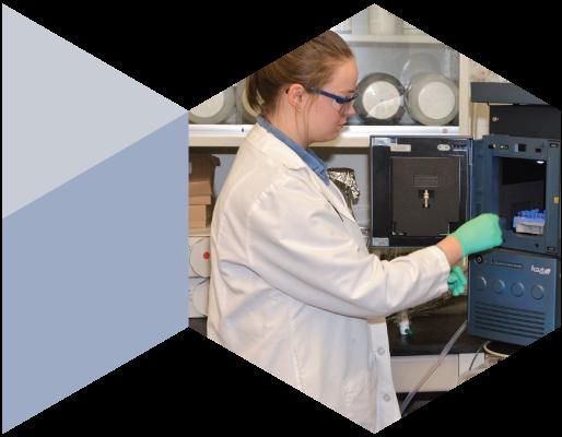 Female Regis employee in lab