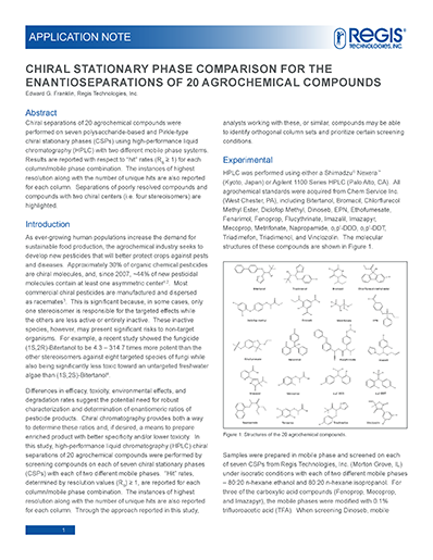 enantioseparations of 20 agrochemical compounds app note